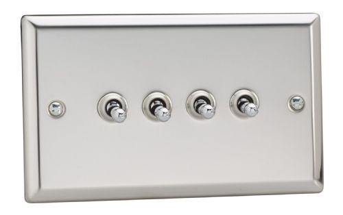 Varilight XCT9 Classic Mirror Chrome 4 Gang 10A 1 or 2 Way Toggle Light Switch